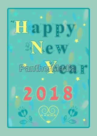 happy new year 2018 floral inscription