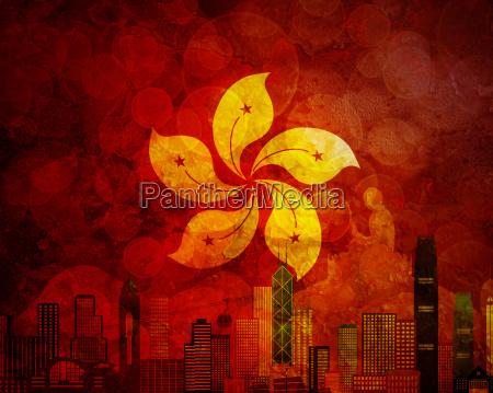 hong kong skyline hk flag grunge