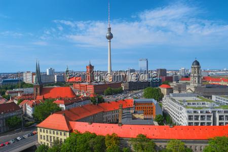 berlin city skyline germany europe aerial