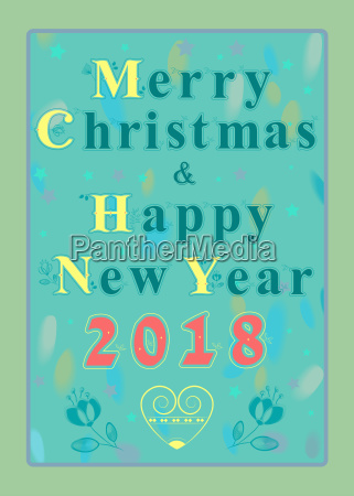 happy new year 2018 floral font