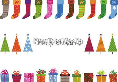 colorful patterned christmas trees gifts and