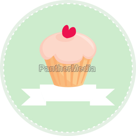 sweet retro cupcake with heart vector