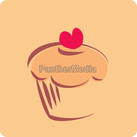 vector sweet retro cupcake silhouette with