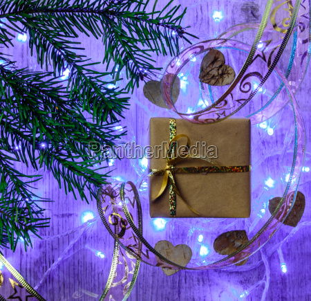 christmas festive card with fir branches