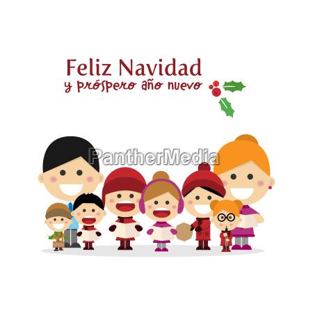 cute family singing carols at christmas