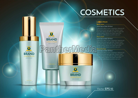 cosmetics vector realistic package ads template