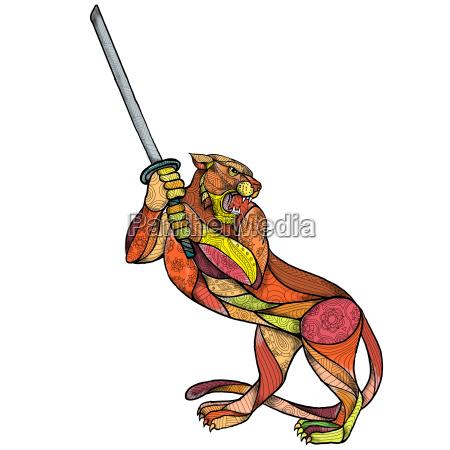 tiger sword fighting mandala