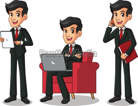 set of businessman in black suit