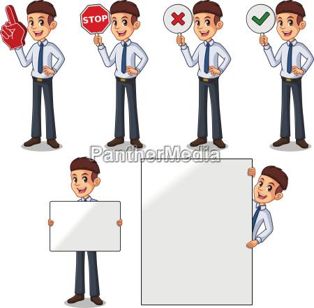 set of businessman in shirt cartoon