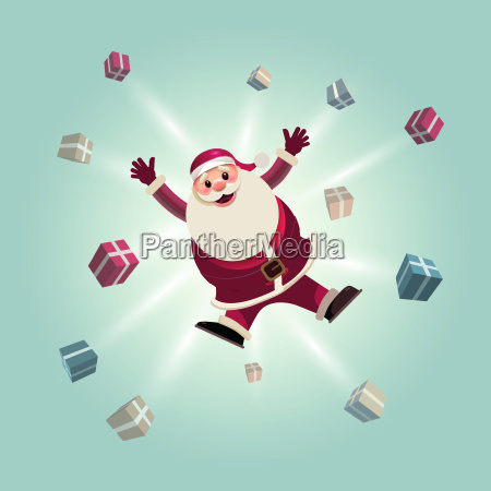 santa claus jumping with gift boxes