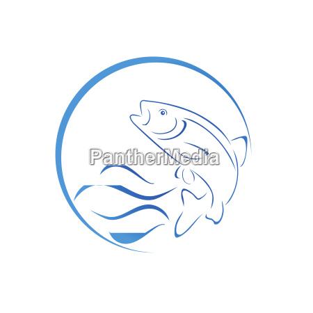 trout fish logo fishing