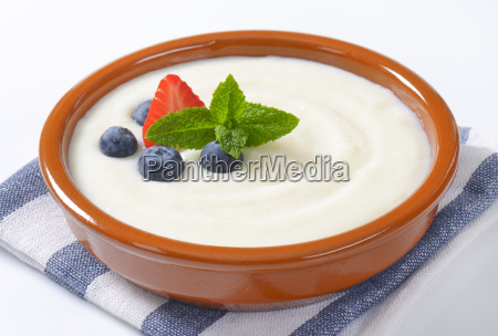 bowl of semolina pudding with fruit