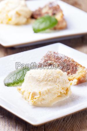 mandarin ice cream and marble cake