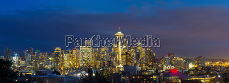 city of seattle during evening blue