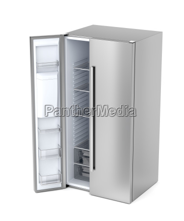 side by side refrigerator with opened