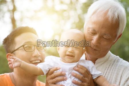 asian multi generations family