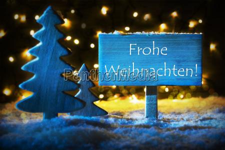 blue tree frohe weihnachten means merry