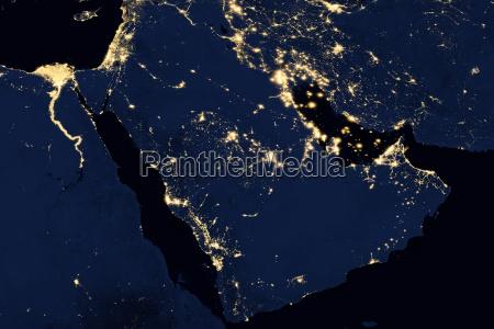 city lights on world map arabian