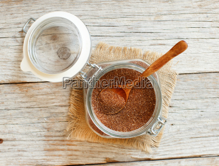 uncooked teff grain in a