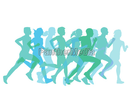 a group of runners converge
