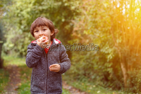 little boy child apple fruit fruits