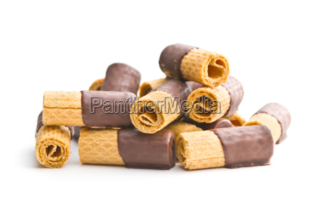 sweet dessert biscuits rolls with chocolate
