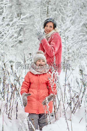 family on holiday in the winter