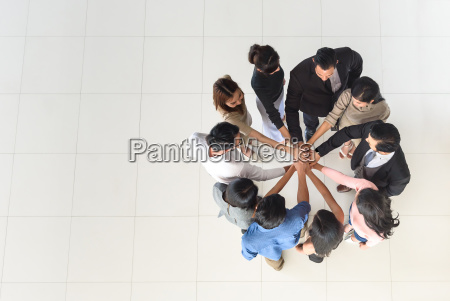 top view of business multi ethnic