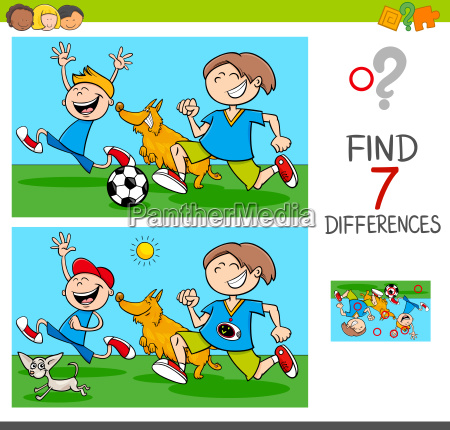 differences game with boys and dogs