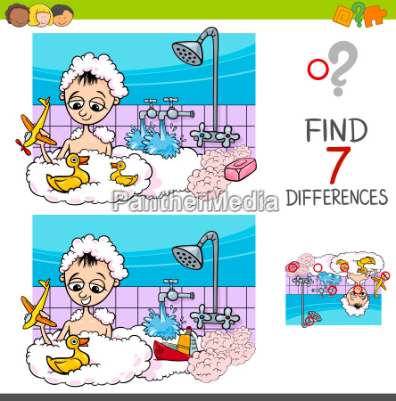 differences game with boy playing in