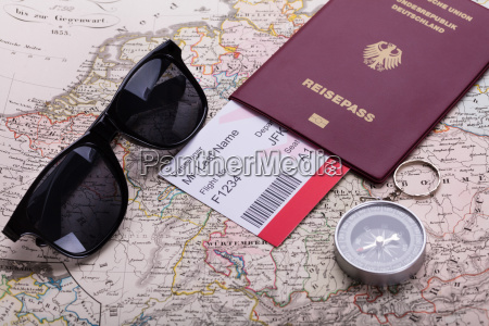 boarding pass ticket in passport and