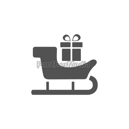 sled icon with gift on white