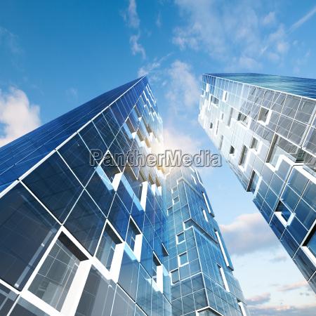 abstract building 3d rendering scene
