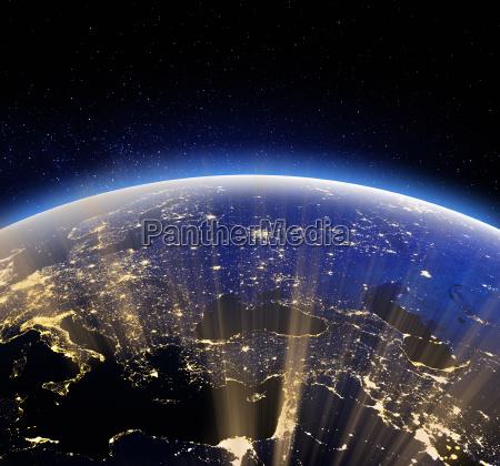 earth space 3d rendering
