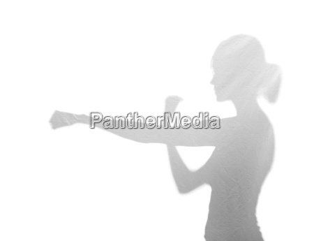 young woman is boxing