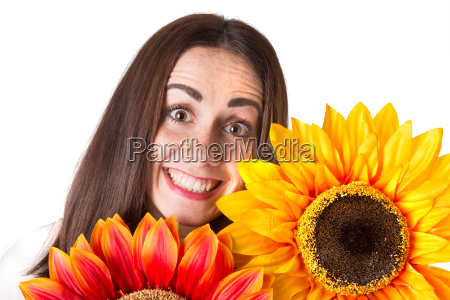 casual young woman with flowers