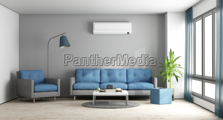 blue, and, gray, modern, lounge - 23441267