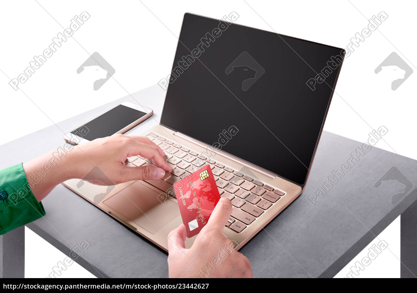 hand, holding, credit, card, while, using - 23442627