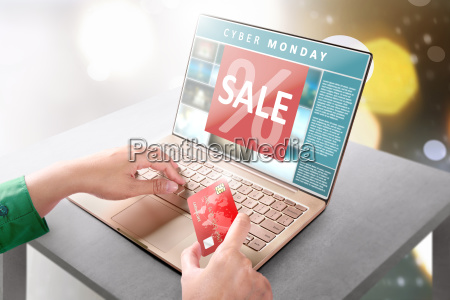 hands, with, laptop, holding, credit, card - 23442639