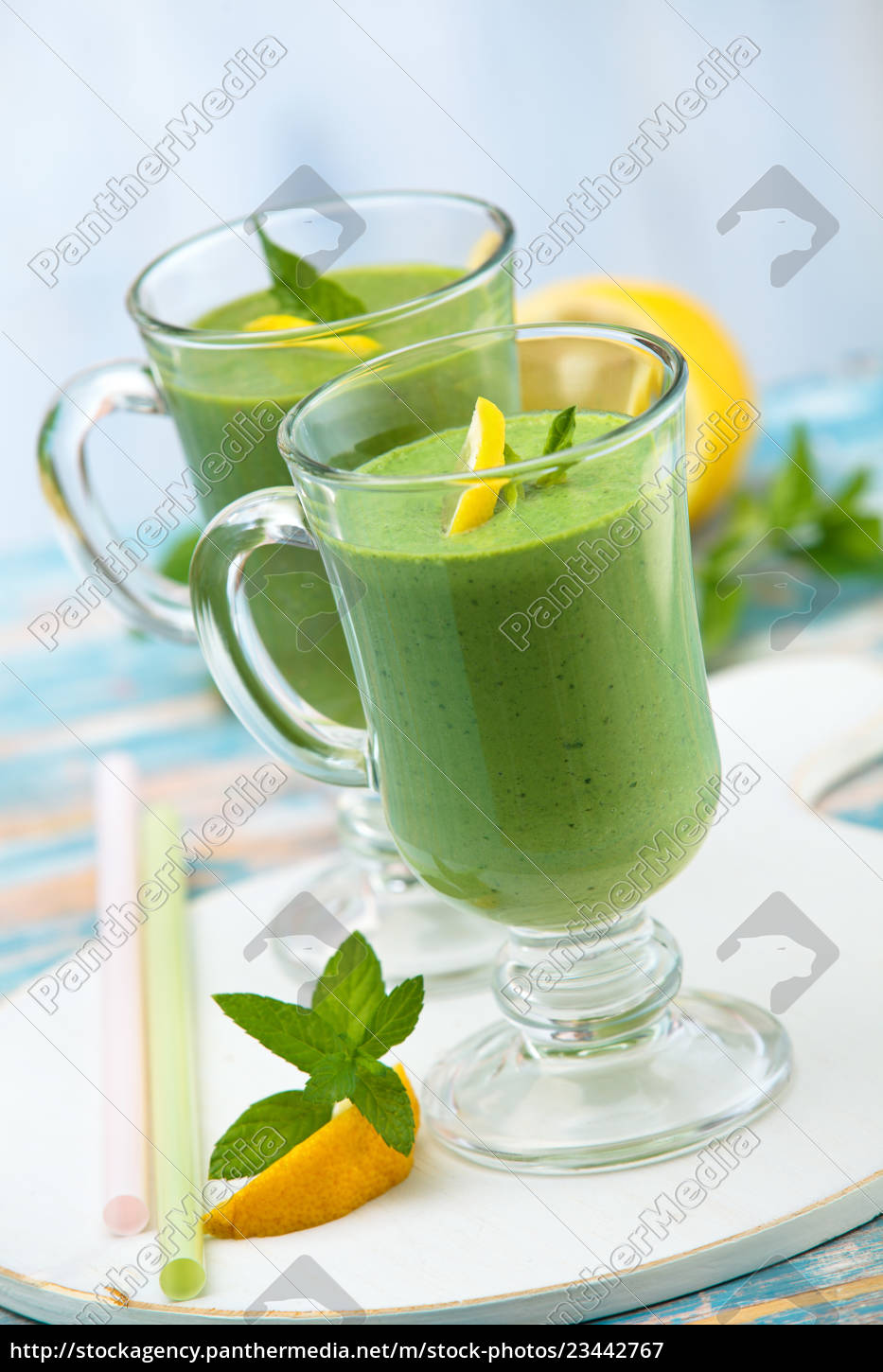spinach, smoothie, , with, mint. - 23442767