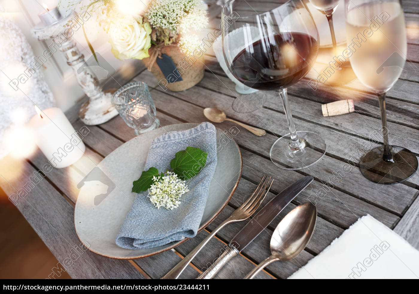 Royalty Free Image 23444211 Decoration On A Rustic Wooden Table For A Romantic Dinner