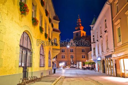 town of ptuj historic street evening