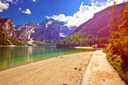braies lake in alps at low