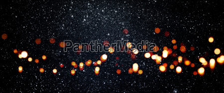 starry sky with colored bokeh
