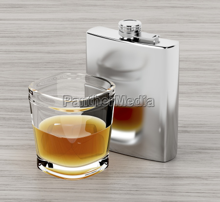hip, flask, and, a, glass, of - 23452495