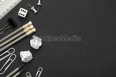 office, accessories, on, black, paper, background - 23452747