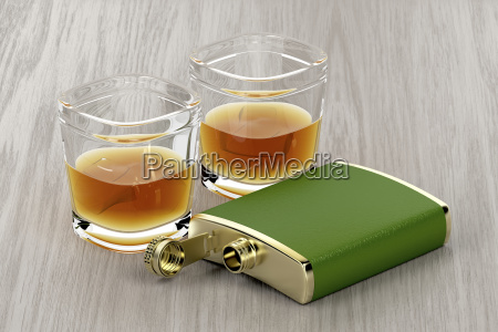 green hip flask and glasses of