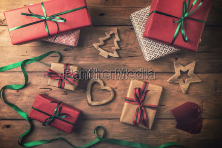 christmas, gifts, and, decorations, on, brown - 23453459