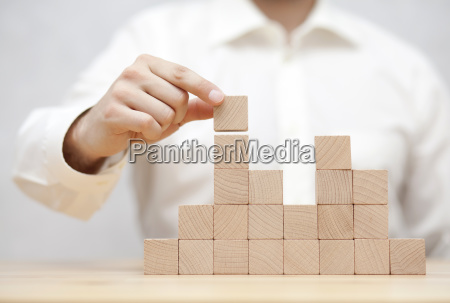 man's, hand, stacking, wooden, blocks., business - 23453741