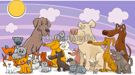 cartoon funny dog and cats group